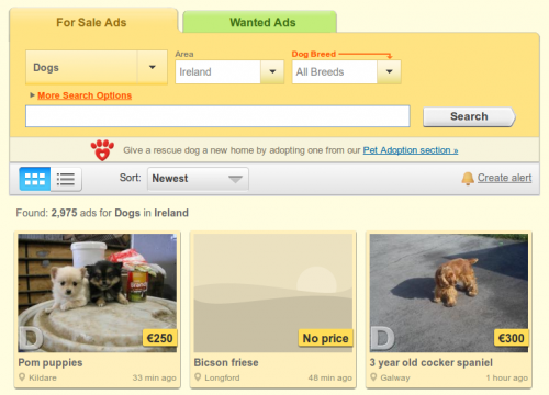 DoneDeal says it promotes dog adoption