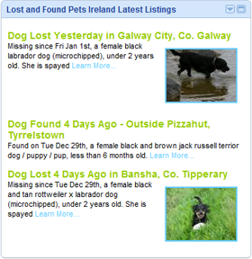 The Lost and Found Pets Ireland Latest Listings iGoogle Gadget
